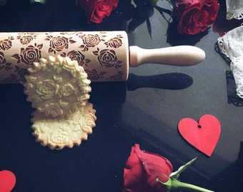 ROSES, rolling pin, embossing rolling pin, engraved rolling pin by laser