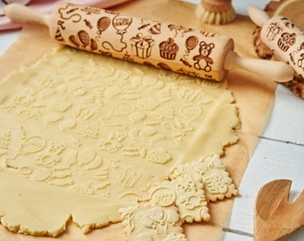 HAPPY BIRTHDAY, rolling pin, embossing rolling pin, engraved rolling pin by lase, birthday gift, birthday party