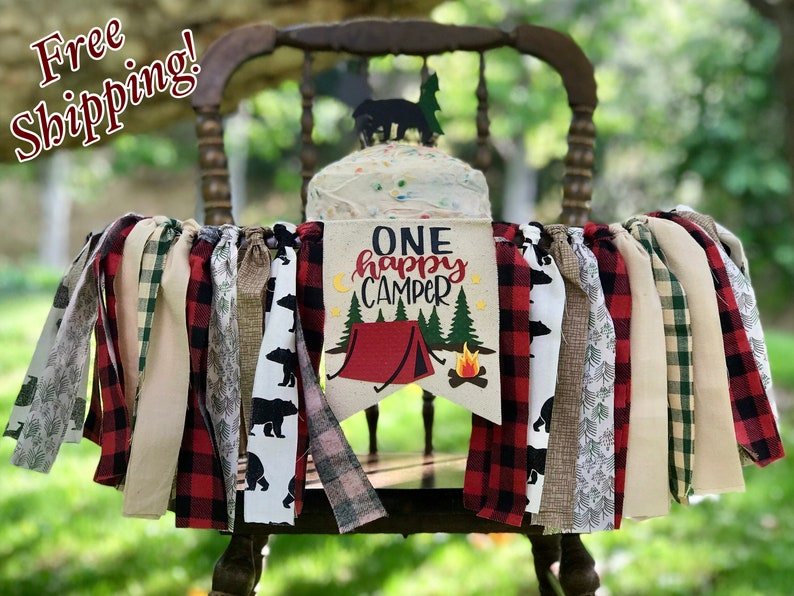 ONE HAPPY CAMPER Highchair Banner Camping High Chair Banner