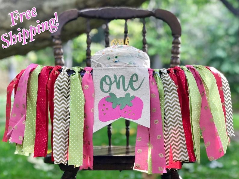 First Birthday Banner Strawberry Highchair Banner Sttawberry Shortcake Highchair Banner