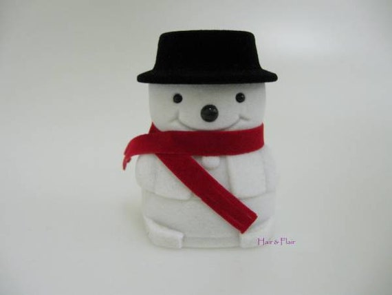 Snowman Ring Box Christmas Gift Display Case Stud Earrings Jewellery Black Hat