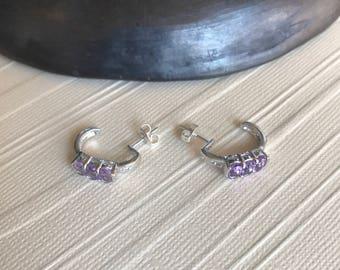 Sterling silver  half hoop earrings with pale amethyst stone simple delicate elegant stud