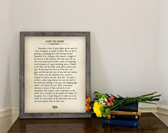EAST OF EDEN - Book Page Wall Art - Book Lovers Large Wall Poster- Great For Home Decor or Gift