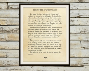 TESS of the D'URBEVILLES - Book Page Wall Art - Book Lovers Large Wall Poster- Great For Home Decor Or Gift