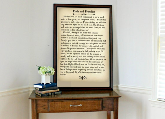 PRIDE AND PREJUDICE Book Page Wall Art Book Lovers Large | Etsy