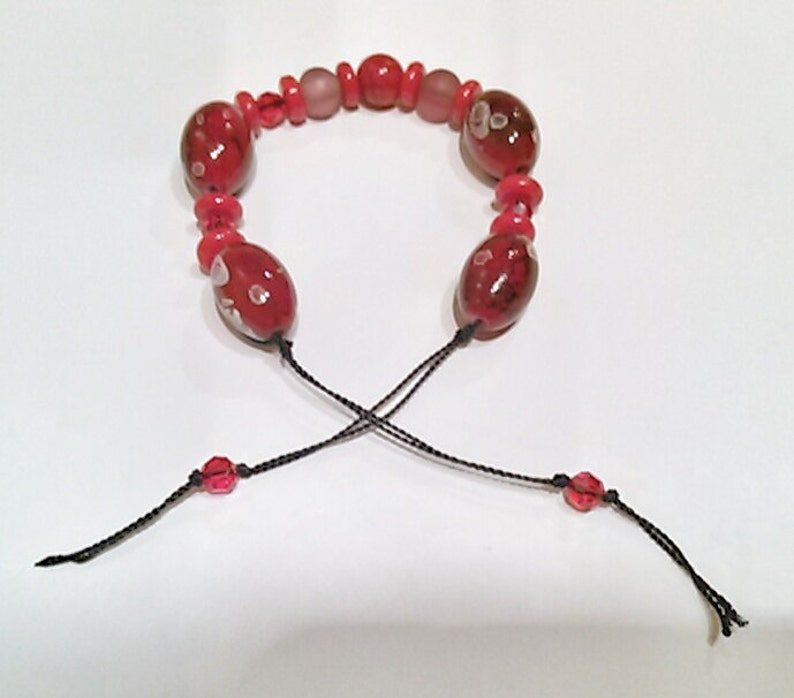 Asian Bead and Red Bracelet Red Knotted Bracelet Wine Knotted Bracelet