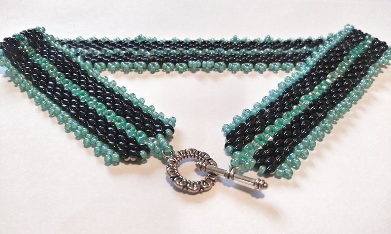 Black and Teal Superduo Twin Seed Bead Necklace Black and Teal Herringbone Ribbon Pattern Necklace-Teal and Black Elegant Bead Necklace
