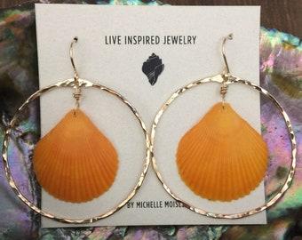 14k goldfilled orange shell earrings