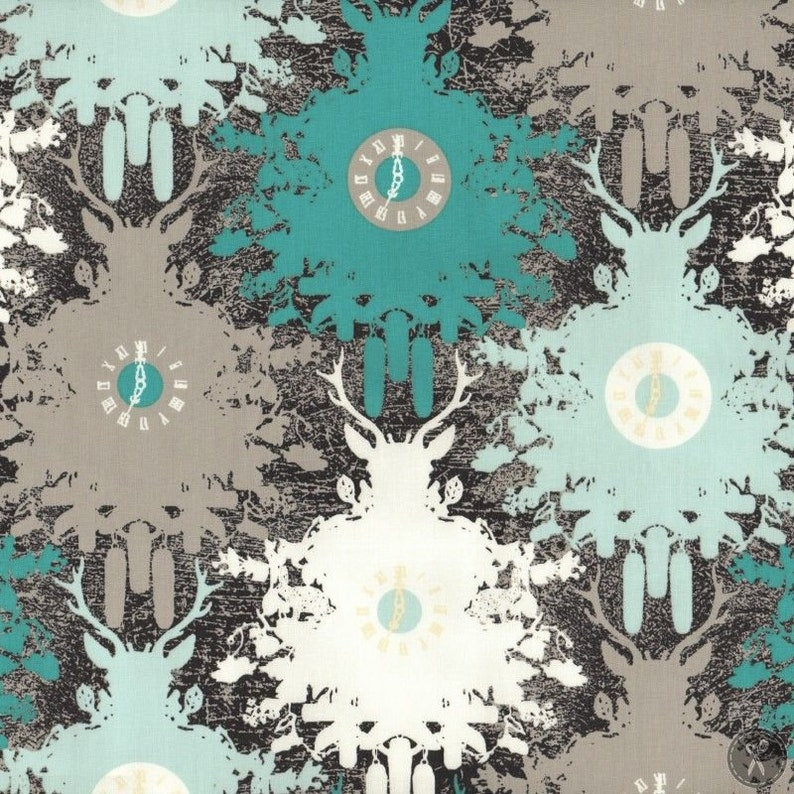 Art Gallery Fabrics Time is Deer Coal Priced Per Yard Indelible Collection Katarina Roccella