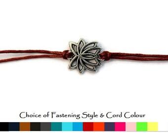 Lotus Flower Bracelet, Flower bracelet, Lotus bracelet, Silver Lotus Flower Bracelet, Festival bracelet, Friendship bracelet, cord bracelet