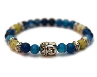 Womens Yellow Turquoise & Agate Bracelet, Womens Buddha Bracelet, Womens Gemstone Bracelet, Womens Bead Bracelet, Gift Idea,Healing Bracelet