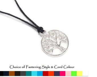 Mens Tree of Life Necklace, Mens Cord necklace, Silver Tree of Life necklace, Tree of Life Pendant, Fathers Day Gift, Boyfriend Gift