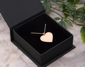 Mom - Engraved Heart Necklace