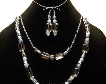 Handmade Double-Strand Plastic Beaded Necklace Set