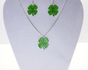 Four Leaf Clover - Shrinky Dink Earring and Necklace Set