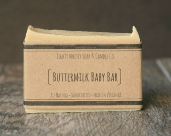 Buttermilk Baby Bar - All Natural Soap, Handmade Soap, Bar Soap - Milk Soap, Gentle Soap, Sensitive Skin, Unscented Soap, Gift for Moms