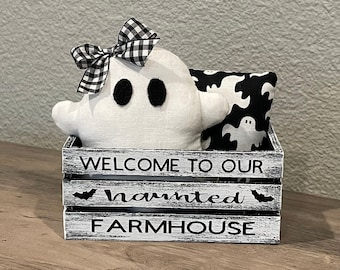 Ghost Tiered Tray Decor   Ghost Mini Pillow   Haunted Farmhouse   Haunted House   Ghost Decor   Halloween Decor   Halloween Tiered Tray