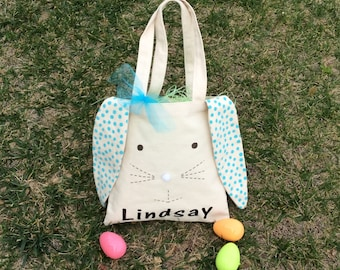 Personalized Canvas Bunny Bag/ Easter Basket Bag/ Easter Bunny
