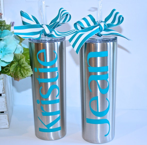 Personalized Stainless Steel Skinny Tumbler 20 oz , Water bottle,  Bridesmaid gift, Wedding tumblers, Bridesmaid tumbler, Bridesmaid proposal