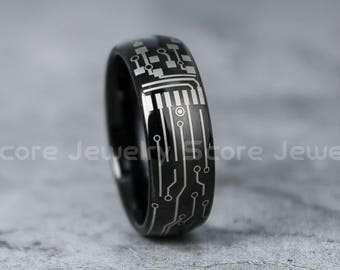 circuit board ring etsyfree shipping free custom engraving 8mm black tungsten band with domed edge circuit board pattern ring 8mm black tungsten wedding ring