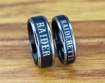 Raider Ring, Raiderette Ring, 2 Piece Couple Set Black Tungsten Rings with Step Edge Raider Raiderette Nickname Rings, Black Wedding Rings