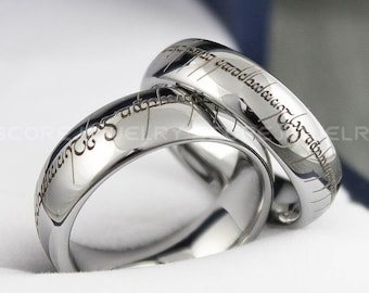 Elvish Ring, Silver Tungsten Band with Domed Edge Customized in Elvish Font Laser Engraved, Silver Tungsten Ring Elvish Jewelry, Elvish Band