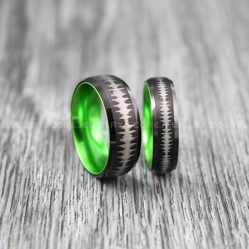 2 Piece Couple Set Black Tungsten Bands Domed Edge Brushed Finish Green Interior Customize Any Soundwave Soundwave Rings Sound Wave Rings