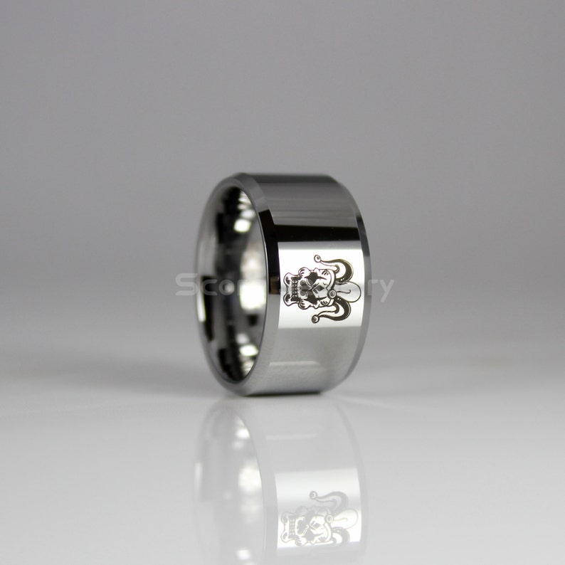 12mm Tungsten Band with Beveled Edge Joker Skull Design Ring 12mm Tungsten Ring