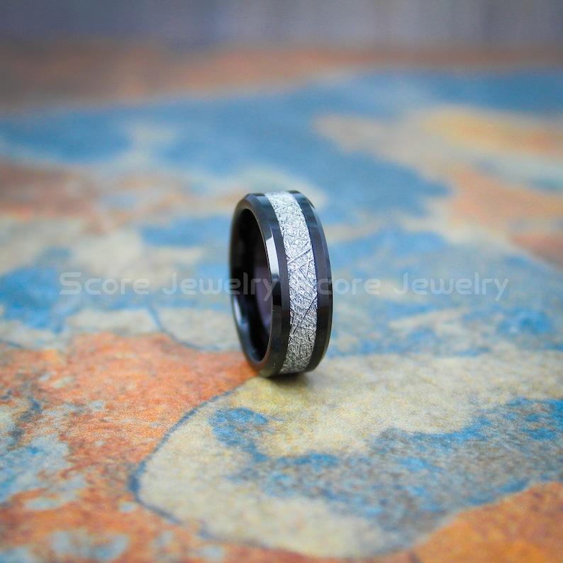 CUSTOM Engraved 8mm Black Tungsten Meteorite Wedding Band Black AAA CZ Stone Tungsten Meteorite Ring with Imitation Meteorite Texture Inlay