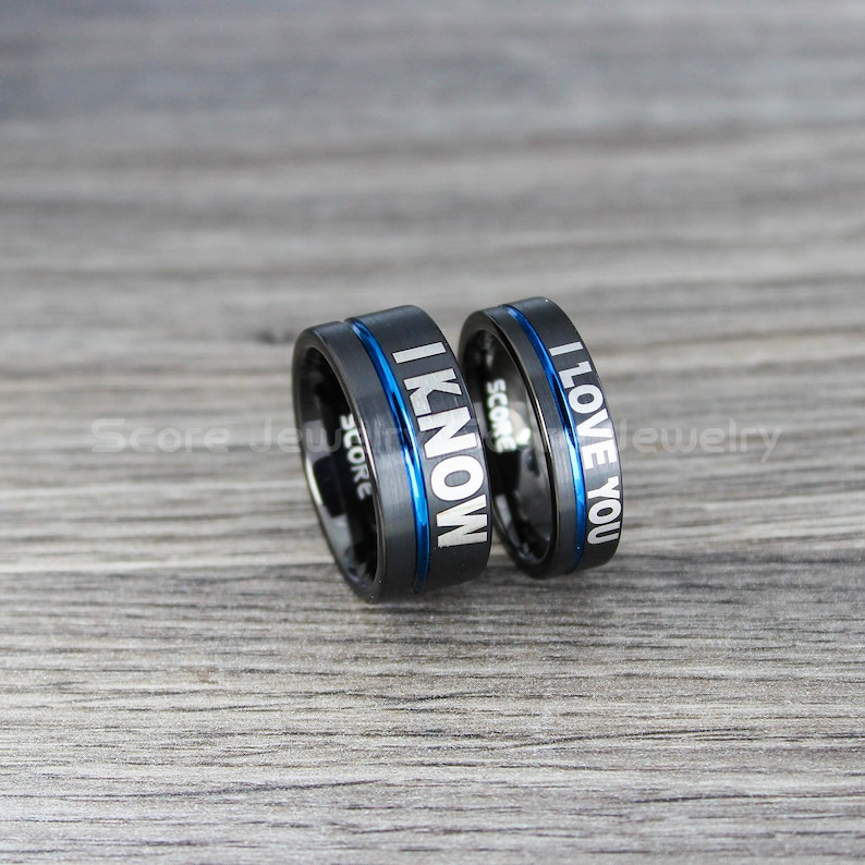 FREE SHIPPING FREE Custom Engravng 2 Piece Couple Set 10mm/&6mm Black Tungsten Wedding Band with Silver Center Groove I Love You I Know Rings