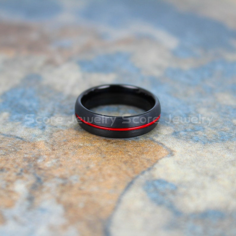 FREE SHIPPING CUSTOM Engraved 6mm Black Tungsten Band with Domed Edge and Red Center Groove Brushed Finish Black Tungsten Wedding Band