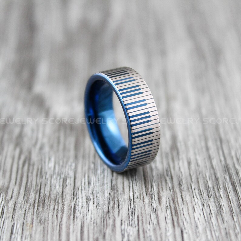 Piano Jewelry Blue Tungsten Ring Music Ring Piano Ring 8mm Blue Tungsten Band with Flat Edge and Piano Key Pattern Laser Engraved