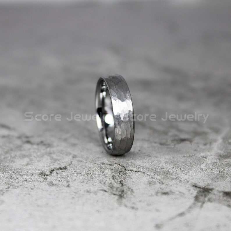 FREE SHIPPING Custom Engraved 6mm Silver Tungsten Band Matte Hammered Finish Tungsten Ring Tungsten Wedding Ring Hammered Ring Silver Ring