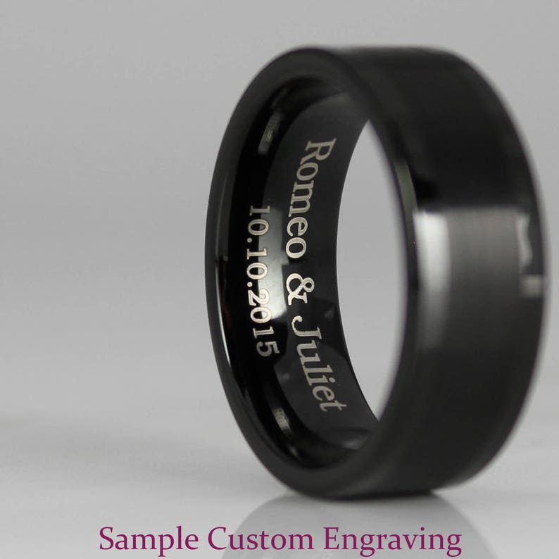FREE SHIPPING FREE Custom Engraving 2 Piece Couple Set 8mm /& 6mm Black Tungsten Wedding Bands with Brushed Finish 14K Yellow Gold Interior