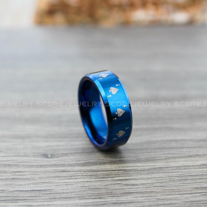 FREE SHIPPING FREE Custom Engraving 8mm Blue Tungsten Band with Beveled Edge Ace of Spades Card Suit Pattern Ring 8mm Blue Tungsten Ring