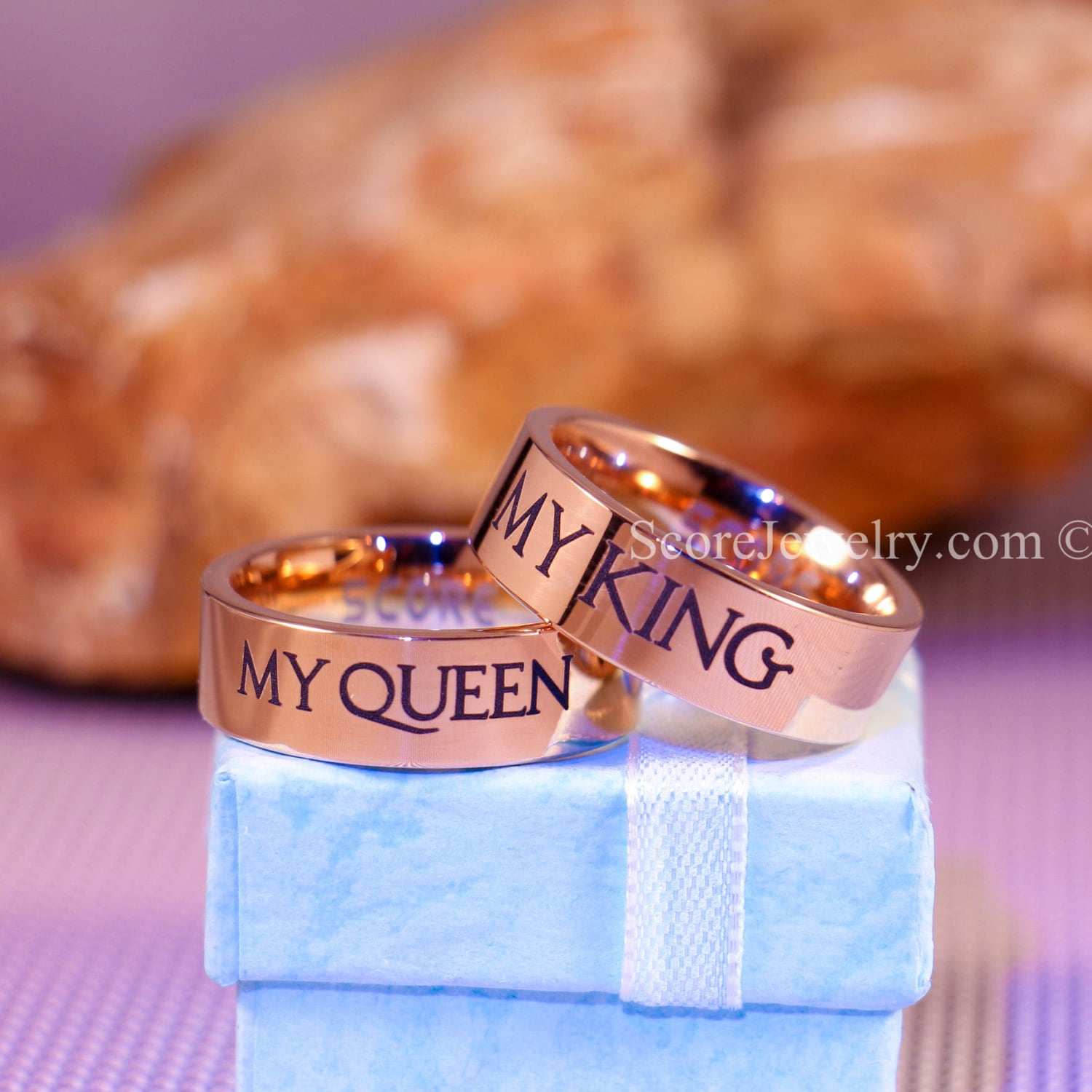 2 Piece Couple Set 14K Rose Gold Tungsten Bands With Flat Edge