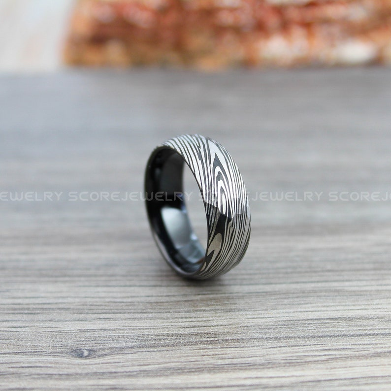 FREE SHIPPING FREE Engraving 8mm Black Tungsten Band Domed Edge Hammered Finish Damascus Steel Pattern Laser Engraved Black Tungsten Ring
