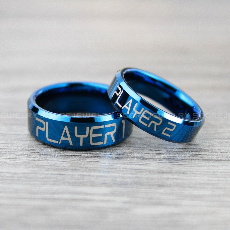 FREE SHIPPING FREE Custom Engraving 2 Piece Couple Set Tungsten Bands with Beveled Edge Player 1 Player 2 Gamer Rings Blue Tungsten Rings
