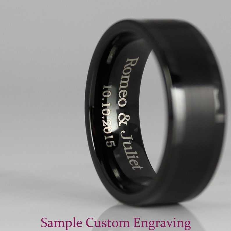 FREE SHIPPING Custom Engraved 2 Piece Couple Set 4mm Tungsten Bands Black Carbon Fiber Inlay Tungsten Wedding Rings Tungsten Wedding Bands