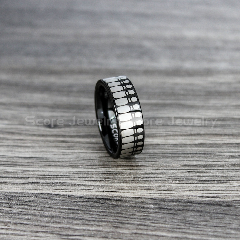 FREE SHIPPING FREE Custom Engraving 8mm Black Tungsten Band with Flat Edge Bowling Pins Pattern Bowling Ring 8mm Tungsten Wedding Ring