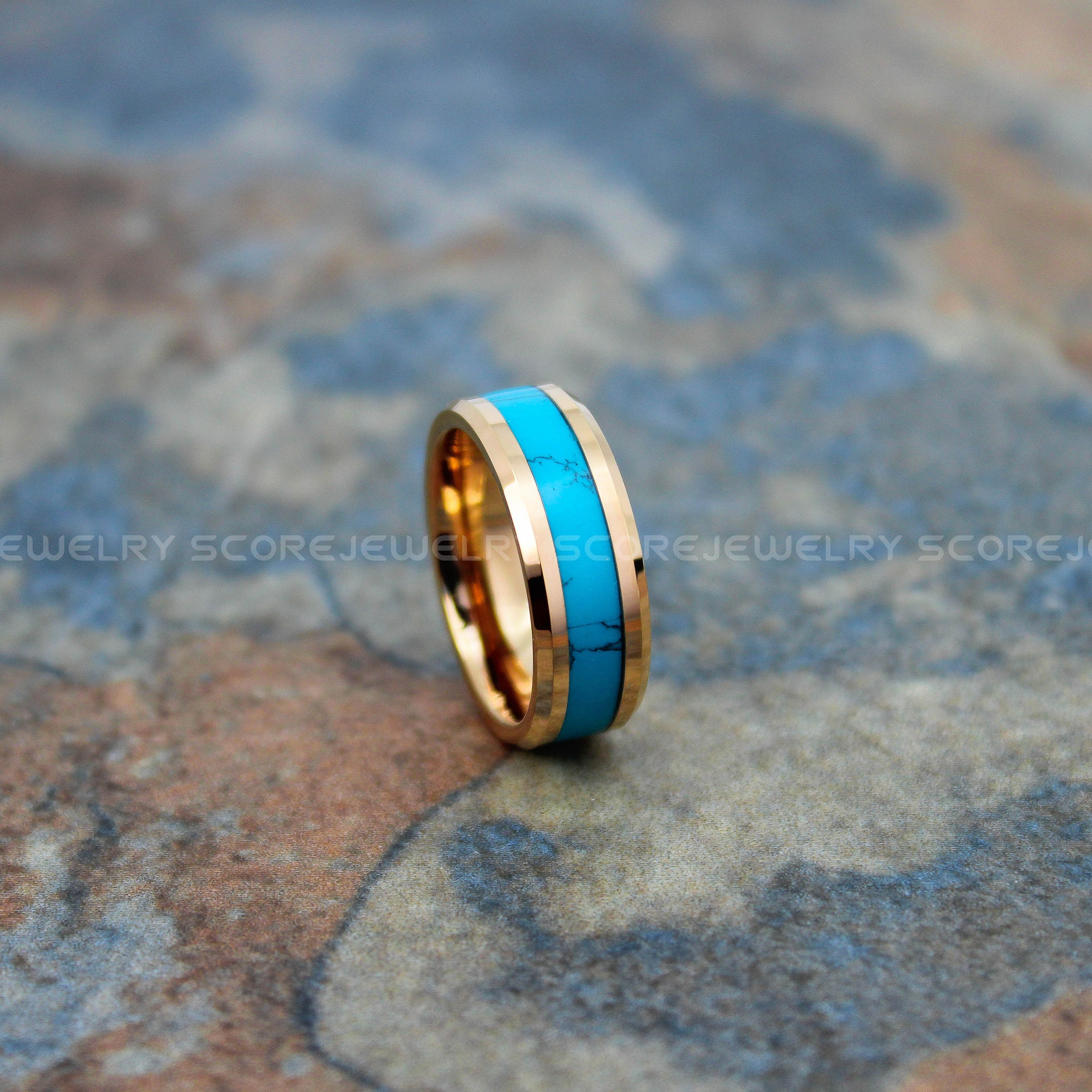 fe83242768fc9 FREE SHIPPING Custom Engraved 8mm 14K Rose Gold Tungsten Band with ...