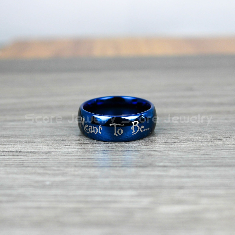 FREE SHIPPING FREE Engraving 8mm Tungsten Band with Domed Edge Simply Meant To Be Jack /& Sally Inspired Design 8mm Tungsten Wedding Ring