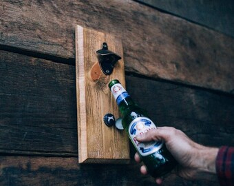 Reclaimed wooden magnetic wall mounted bottle opener / Man Cave Bottle opener / Magnetic Bottle Opener