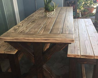 Rustic Patio Table, Rustic Dining Table, Rustic Table, Outdoor Furniture,  Reclaimed Wood Table With Benches, Conference Table, Office Desk