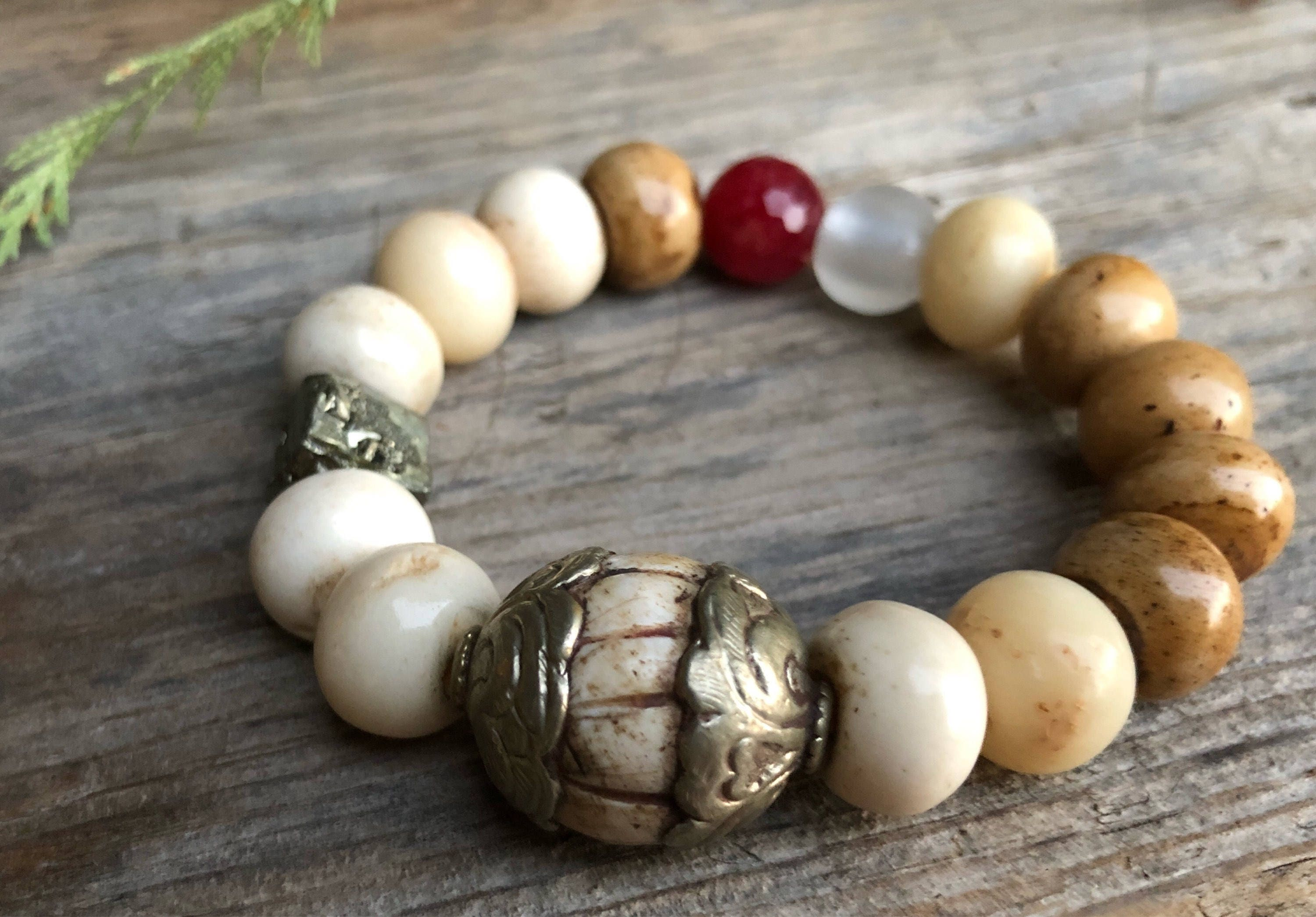 Old Tibet Trade Artisan Bead Paired With Hand Carved Bone Faceted Jade Raw Pyrite Gemstone Beaded Buddha Intention Mala Bracelet Mens Gifts