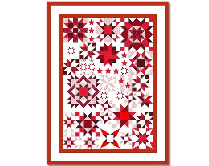 Featured listing image: Awakening Stars - Samplerquilt E-Book Pattern in GERMAN and Centimetres