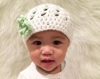 Crochet beanie hats with flower for baby girls (Newborn - 24 months ) 7d7486c19533