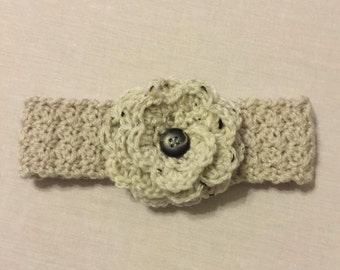 Crochet Earwarmer or Headband with Flower