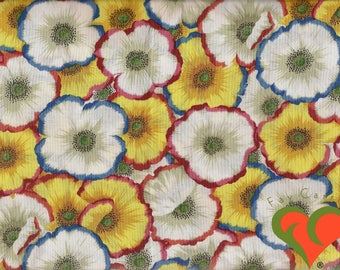 Kaffe Fassett Collective Philip Jacobs Picotte Poppies Natural Fabric PJ52 Half Yard. Rare. OOP. VHTF. Retired.