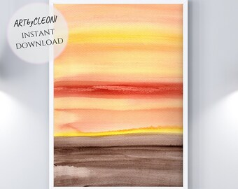 GLOW, instant download, large printable art, watercolor, 24x36 in, Din A1, gradient, brown, red, orange, yellow, din A, jpg, nature, landscape,